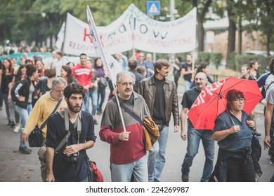 MILAN, ITALY - OCTOBER 11: demonstration held in Milan october 11, 2014. People took streets to protest against Milan expo to be held in 2015, event important worldwide.