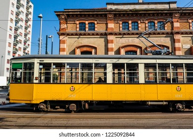 MILAN, ITALY, October 12 2018: Yellow tram in the MIlan streets