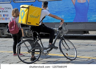 Milan , Italy october 12,2018 - Glovo delivery food by bicycle