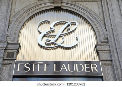 Milan , Italy october 12,2018 - Logo Estee Lauder shop in downtown of Milano