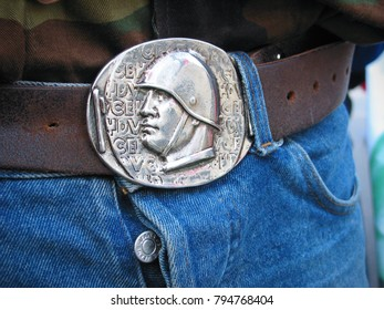 Milan, Italy - October 15, 2016: a belt with the medallion of Mussolini's face