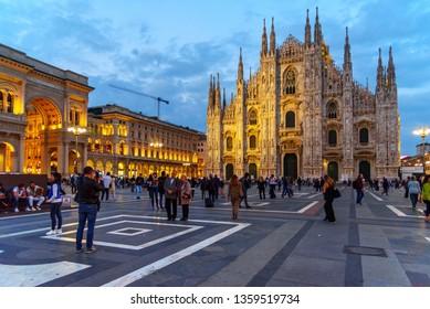Milan, Italy - October 16, 2018: Cathedral Or Duomo Di Milano at night