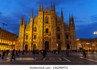 Milan, Italy - October 16, 2018: Cathedral Or Duomo Di Milano at night