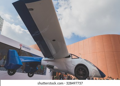 MILAN, ITALY - OCTOBER 16: Flying car on display at Expo, universal exposition on the theme of food on OCTOBER 16, 2015 in Milan.