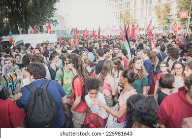 MILAN, ITALY - OCTOBER 18: A manifestation held in Milan october 18, 2014. People took to the streets to protest against racism, war and against Lega Nord, an Italian right wing political movement.