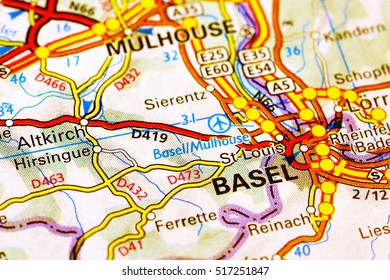 Milan, Italy - October 19, 2015: Basel area on a map