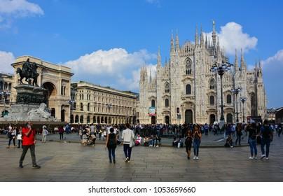 Milan / Italy - October 2, 2016: people walking at Piazza Duomo, Milan