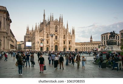 Milan / Italy - October 2, 2016: view of Duomo square in the evening, Milan