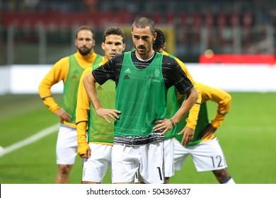 Milan, Italy, october 2016:  Juventus players during the warm up before the football match between AC MILAN vs JUVENTUS FC, Italy league Serie A  at San Siro stadium Milan october 22 2016