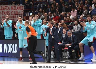 Milan, Italy, october 2017: Fc Barcelona Lassa bench during basketball match AX ARMANI EXCHANGE OLIMPIA MILAN vs FC BARCELONA LASSA, EuroLeague 2018, Milan october 26 2017