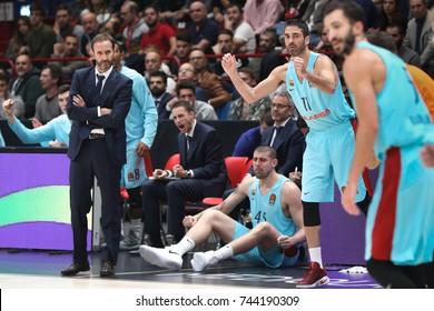 Milan, Italy, october 2017: Navarro Juan Carlos exults during basketball match AX ARMANI EXCHANGE OLIMPIA MILAN vs FC BARCELONA LASSA, EuroLeague 2018, Milan october 26 2017