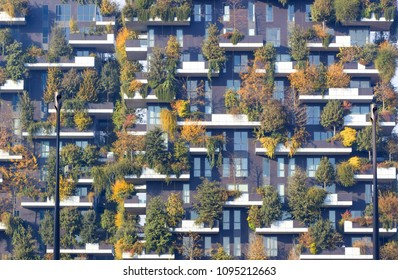 Milan, Italy, October 2017  New and modern condo with trees growing on balconies, Bosco Verticale residential towers in milan (Vertical forest).