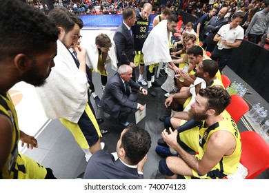 Milan, Italy, october 2017: Time out Fenerbahce during basketball match AX Armani Exchange Olimpia Milan vs Fenerbahce Dogus Istanbul, EuroLeague 2018, Mediolanum Forum, Milan october 19 2017