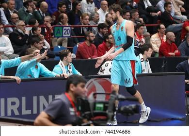 Milan, Italy, october 2017: Tomic Ante  exults with benchduring basketball match AX ARMANI EXCHANGE OLIMPIA MILAN vs FC BARCELONA LASSA, EuroLeague 2018, Milan october 26 2017