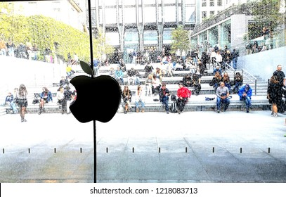 Milan, Italy, October 2018. Apple store logo. Macintosh istore shop is located under the city fountain in main shopping area.