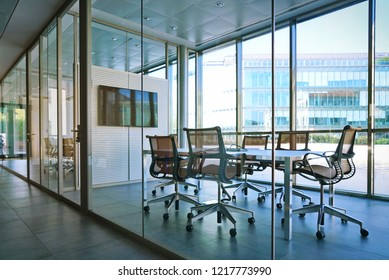 Milan, Italy - October 2018: Modern conference room interior with furniture and panoramic view