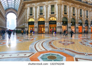 MILAN, ITALY - OCTOBER 21, 2018 : Famous Galleria Vittorio Emanuele II in Milan, one of the oldest shopping mall in the world.