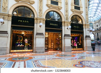 MILAN, ITALY - OCTOBER 21, 2018 : Prada store in Galleria Vittorio Emanuele II in Milan. Prada is an Italian luxury fashion house specializing in fashion accesories.