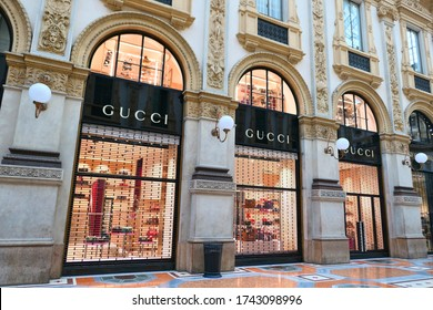 MILAN, ITALY - OCTOBER 21, 2018 : Gucci boutique in Galleria Vittorio Emanuele II in Milan. Gucci is an Italian luxury fashion and leather accessories brand.