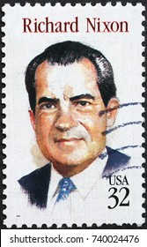 Milan, Italy - October 22, 2017: Richard Nixon on american postage stamp