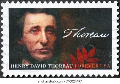 Milan, Italy - October 22, 2017: Henry David Thoreau on american postage stamp