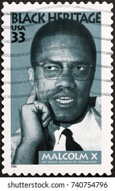 Milan, Italy - October 22, 2017: Malcolm X on american postage stamp
