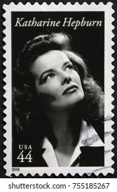 Milan, Italy - October 22, 2017: Katherine Hepburn on american postage stamp