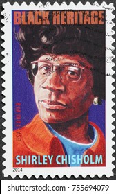 Milan, Italy - October 22, 2017: Black heritage, Shirley Chisholm on american stamp