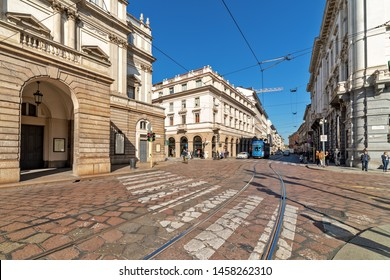 MILAN, ITALY - OCTOBER 22, 2018: View of the street in the city center of Milan - city in northern Italy, second-most populous city after Rome it known as one of the world's four fashion capitals.