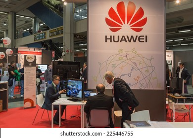 MILAN, ITALY - OCTOBER 22: People visit Smau, international exhibition of information communications technology on OCTOBER 22, 2014 in Milan.