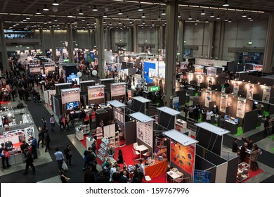 MILAN, ITALY - OCTOBER 23: Top view of people and booths at Smau, international exhibition of information communications technology on OCTOBER 23, 2013 in Milan.