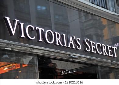 Milan, Italy october 23,2018 - Victoria's Secret logo and shop luxury in Milano