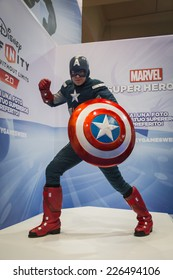 MILAN, ITALY - OCTOBER 24: Captain America superhero at Games Week 2014, event dedicated to video games and electronic entertainment on OCTOBER 24, 2014 in Milan.