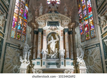 Milan, Italy - October 27, 2016: The interior of the Duomo Cathedral, the sculptural group of San Giovanni Bosco, by Vincenzo Buzzi