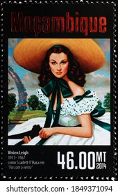 Milan, Italy - October 28, 2020: Vivien Leigh in Gone with the wind on stamp