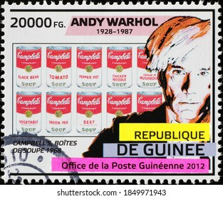 Milan, Italy - October 28, 2020: Portrait of Andy Warhol and Campell's soups on stamp