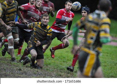 MILAN, ITALY - OCTOBER 28: Amateur rugby league in Milan, October 28,2010. Players  during the match between A.S.R. Rugby Milano vs Biella Rugby Club.