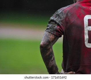 MILAN, ITALY - OCTOBER 28: Amateur rugby league in Milan, October 28,2010. Player muddy arm during the match between A.S.R. Rugby Milano vs Biella Rugby Club.