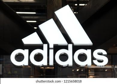 Milan , Italy october 29,2018 - Adidas logo and shop