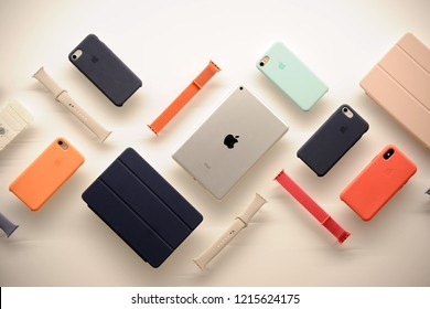 Milan , Italy october 29,2018 Apple Watch , tablet anc cover accessories for cell , mobile , phone