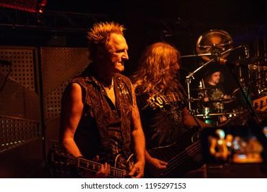 Milan, Italy - October 3, 2018: German power metal band PRIMAL FEAR performs at Legend Club.
