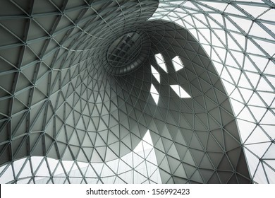 MILAN, ITALY - OCTOBER 3: Architectural detail of one of the buildings hosting Made expo, international architecture and building trade show on OCTOBER 3, 2013 in Milan.
