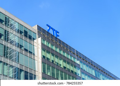 MILAN, ITALY - OCTOBER 30, 2017:  The central Milan headquarter building of ZTE the telecommunications company.  ZTE intends to open 13 new research & development centres in Italy.