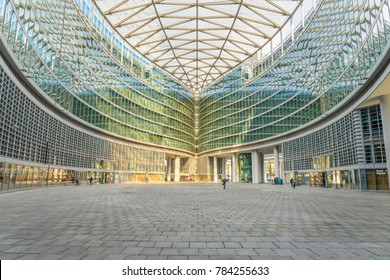 MILAN, ITALY - OCTOBER 30, 2017: Atrium of the Palazzo Lombardia in Milan is the Lombardy regional government building.