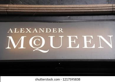 Milan, Italy october 31,2018 - Alexander McQueen logo and shop