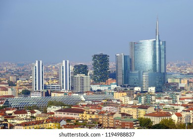 Milan , Italy october 4, 2018 - view of the downtown of Milano from Torre Braca with tne nature of Sempione park , Skyline and skyscepers , Unicredit tower - landmark of the city