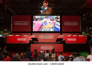MILAN, ITALY - OCTOBER 5: People visit Games Week 2018, event dedicated to video games and electronic entertainment on OCTOBER 5, 2018 in Milan.