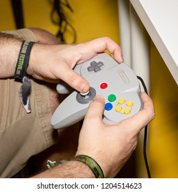 MILAN, ITALY - OCTOBER 5: Vintage controller at Games Week 2018, event dedicated to video games and electronic entertainment on OCTOBER 5, 2018 in Milan.