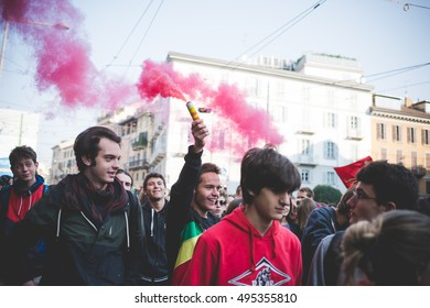 """MILAN, ITALY - OCTOBER 7, 2016: students demonstrating against the law of the italian governmnet called """"buona scuola"""". Crowd demostrating for a school of a higher quality."""