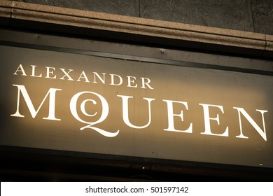 Milan, Italy - October 8, 2016: Logo of a Mcqueen shop in Milan - Montenapoleone area, Italy. Few days after Milan Fashion Week. Fall Winter 2017 Collection.